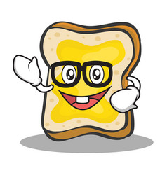 Geek face bread character cartoon vector