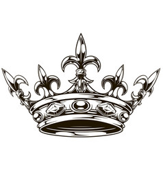graphic black and white king crown vector image vector image