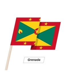 Grenada ribbon waving flag isolated on white vector