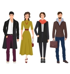 Handsome young guys with beautiful girls woman vector image vector image