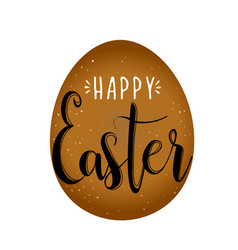 happy easter calligraphy egg on white background vector image vector image