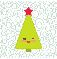 Happy New Year card Funny green Christmas tree vector image