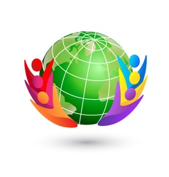 Happy teamwork and green world logo vector image vector image