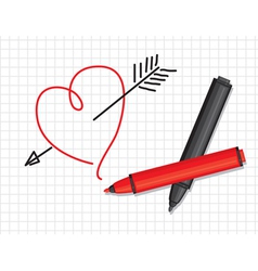 heart and markers vector image vector image