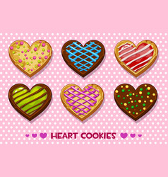 Heart shaped gingerbread and chocolate cookies vector