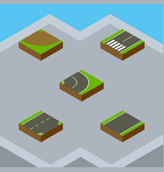 Isometric road set of turn asphalt unilateral vector