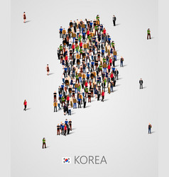 Large group of people in south korea map form vector