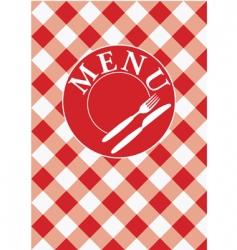 menu card red gingham vector image vector image