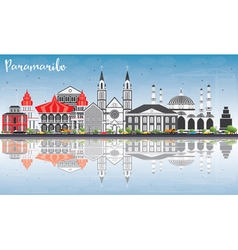 Paramaribo Skyline with Gray Buildings vector image vector image