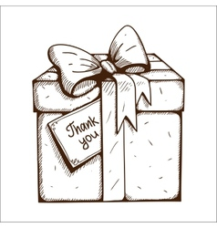 Present box with thank you text vector