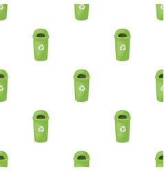 recycle garbage can icon in cartoon style isolated vector image