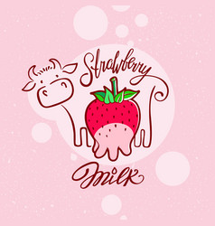 Red sweet berry with a cow drawing strawberry milk vector
