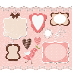set of cute romantic frames vector image vector image