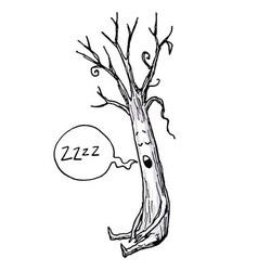 Sleeping Tree Cartoon vector image