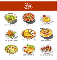 Thai cuisine food and traditional dishes vector