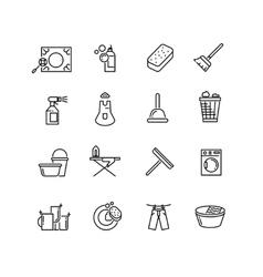 Thin line style cleaning icons vector