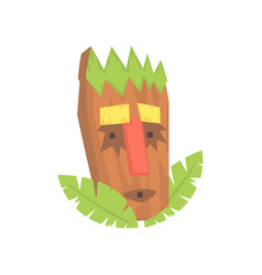 Tropical tiki mask tribal totem cartoon vector