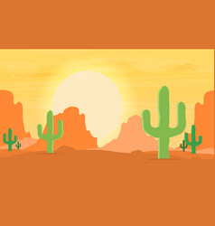 Western desert landscape at sunset vector