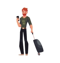 Young man with suitcases and phone in jeans t vector