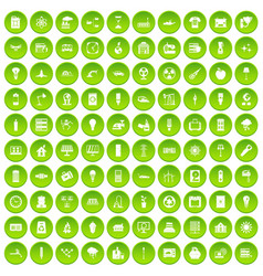 100 electricity icons set green circle vector