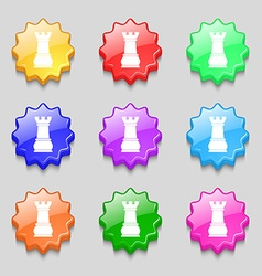 Chess rook icon sign symbol on nine wavy colourful vector