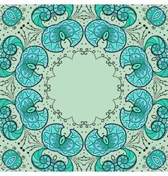 Round floral ornamental frame vector image
