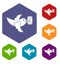Pigeon fly with mail icons set hexagon vector