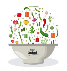 Fresh salad bowl dish menu food natural image vector