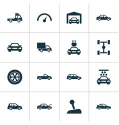 Auto icons set collection of wheelbase carriage vector