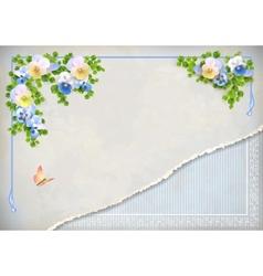 Shabby chic vintage wedding floral invitation vector image