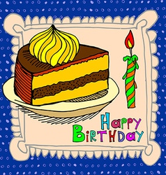 Cute happy birthday cake candle cardtion vector