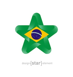 Star with brazil flag colors and symbols vector