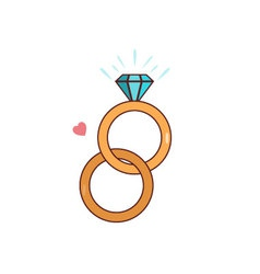 Isolated cartoon diamond wedding ring vector