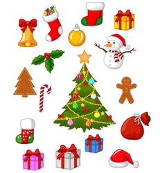 Christmas accessories collection set vector