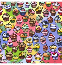 Colorful cupcakes seamless background vector