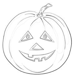 pumpkin jack o lantern contours vector image