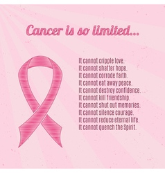 Pink breast cancer awareness ribbon with vector