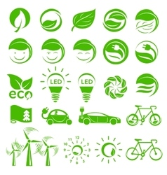Ecology simple icons set vector image