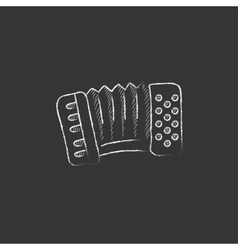 Accordion drawn in chalk icon vector