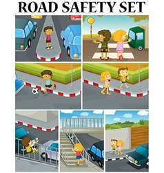 Scenes of children and road safety vector