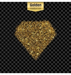 Gold glitter icon of diamond isolated on vector