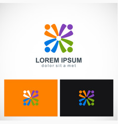 abstract people group diversity logo vector image