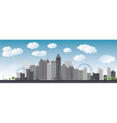 An imaginary big city with skyscrapers vector image