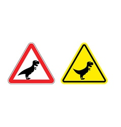 Attention of tyrannosaurus danger sign cautious vector