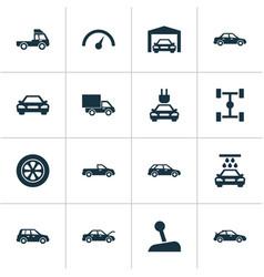 Auto icons set collection of wheelbase carriage vector