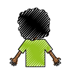 Back black child character vector