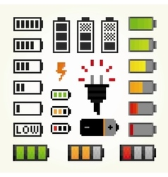 Battery pack isolated objects set in pixel art vector image