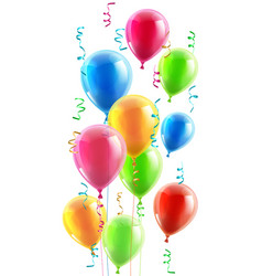 birthday or party balloons and ribbons vector image vector image