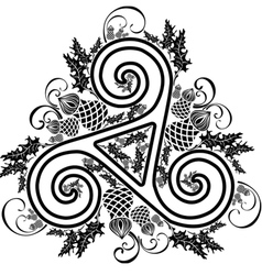 Black and white image celtic triad with flowers of vector