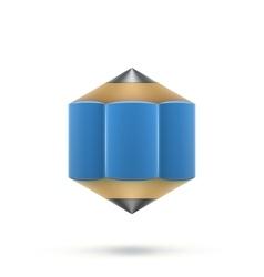Blue hexagonal pencil vector image vector image
